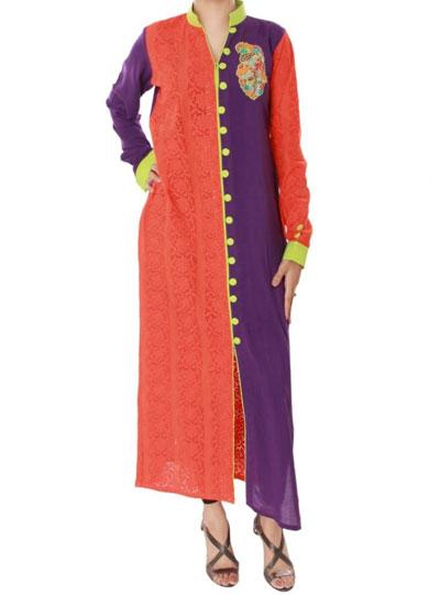 purple and orange kurta