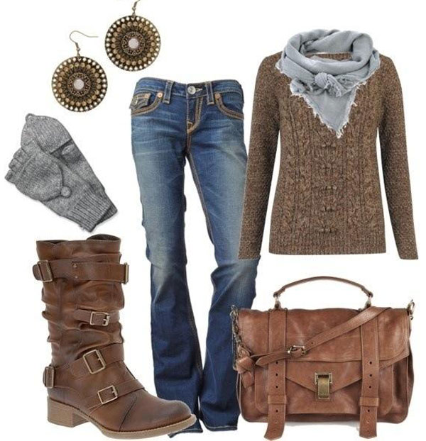 winter boots and jean outfit