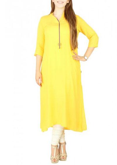 yellow long kurta for girls