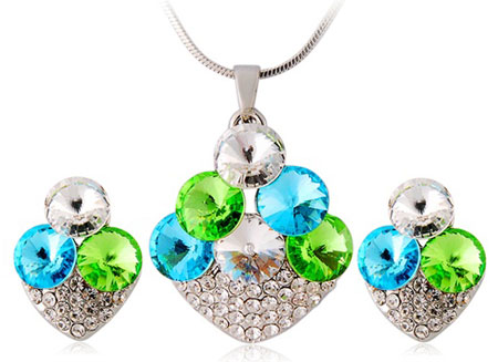 Strawberry Design Alloy Necklace & Earrings Set (White Gold) M