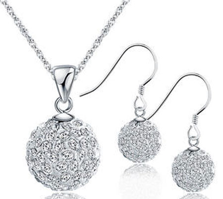 sterling silver and_austrian crystal studded ball pendant and hook earrings jewelry set with white gold plated
