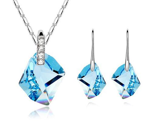 Blue Crystal Earrings & Nec