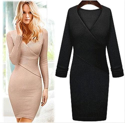 winter women-s-new fashionn slim sexy knitted-V-neck sweater dresses