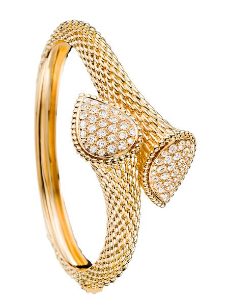 serpent yellow gold with diamond bangle bracelet