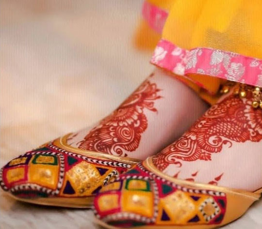 Wedding Shoes for Girls on Mehndi Ceremony